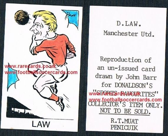 1968 Barr Muat Donaldson unissued promo art card Denis Law Man Utd
